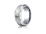 Benchmark® Cobalt Chrome™ 9mm Comfort-fit Satin-finished Stair-step Edge Design Ring