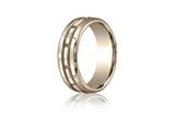 Benchmark® 7.5mm Comfort-fit High Polished Rectangle Carved Design Band style: CF71750318KR