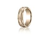 Benchmark 7.5mm Comfort-fit Satin-finished Rope Carved Design Band