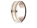 Benchmark® 14 Karat Rose Gold 8mm Comfort-fit Drop Bevel Satin Finish Milgrain Design Band style: CFR188013S