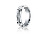 Benchmark® 6mm Comfort-fit Satin-finished High Polished Center Cut Squared Edge Carved Design Band