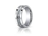 Benchmark® 8mm Comfort-fit Satin-finished High Polished Center Cut Squared Edge Carved Design Band