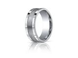 Benchmark® 8mm Comfort-fit Satin-finished Center Squared Edge Carved Design Band