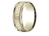 Benchmark® 14 Karat Yellow Gold 8mm Comfort-fit Hammered Center High Polish Round Edge Carved Design Band style: CFYB158309