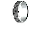 Benchmark 8mm Cobalt Chrome Comfort-Fit Beveled Edge Sandblasted Link Pattern Design Ring Style number: CF68943CC