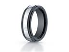 Benchmark 7mm Tungsten Forge Wedding Ring with Seranite Edge Style number: RECF77864CMTG