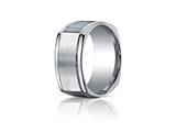 Benchmark Argentium Silver 10mm  Comfort-fit Four-sided Design Band