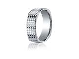 Benchmark® 7mm Comfort-fit Four-sided Grid Pattern Carved Design Band
