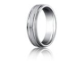 Benchmark® Platinum 6mm Comfort-fit Satin-finished With Parallel Grooves Carved Design Band