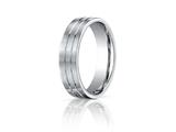 Benchmark® Platinum 6mm Comfort-fit Satin-finished With Parallel Center Cuts Carved Design Band