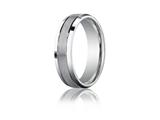 Benchmark® Platinum 6mm Comfort-fit Satin-finished High Polished Beveled Edge Carved Design Band