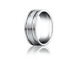 Benchmark Platinum 8mm Comfort-fit Satin-finished With Parallel Grooves Carved Design Band