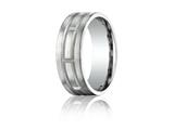 Benchmark Platinum 8mm Comfort-fit Satin-finished Carved Design Band