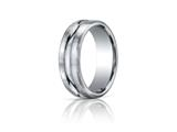 Benchmark® Platinum 7.5mm Comfort-fit Satin-finished High Polished Center Cut Carved Design Band