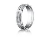 Benchmark® Platinum 6mm Comfort-fit Satin-finished Polished Center and Round Edge Design Band