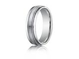 Benchmark® Platinum 6mm Comfort-fit Satin-finished With Milgrain Round Edge Carved Design Band