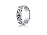 Benchmark® Argentium Silver 7mm Comfort-fit Satin-finised Double Groove Center Design Band
