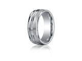 Benchmark® Cobalt Chrome™ 8mm Comfort-fit Satin-finished High Polished Center and Round Edge Design Ring