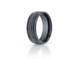 Benchmark® Ceramic 8mm Comfort-fit Satin-finished High Polished Center and Round Edge Design Ring