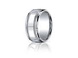 Benchmark Argentium Silver 10mm Comfort-fit High Polished Milgrain Design Band