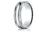 Benchmark® Palladium 7mm Comfort-fit High Polished With Milgrain Round Edge Carved Design Band style: RECF7701PD