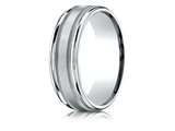 Benchmark® Palladium 7mm Comfort-fit Satin Finish Center With Milgrain Round Edge Carved Design Band style: RECF7701SPD