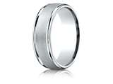 Benchmark® Palladium 7mm Comfort-fit Wired-finished High Polished Round Edge Carved Design Band style: RECF7702PD