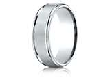 Benchmark® Palladium 7mm Comfort-fit Satin Finish High Polished Round Edge Carved Design Band style: RECF7702SPD