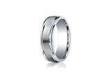 Benchmark® Argentium Silver 7mm Comfort-fit Satin-finished High Polished Round Edge Design Band