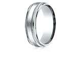 Benchmark® 10k Gold 7mm Comfort-fit Swirl Finish Center Milgrain Round Edge Carved Design Band style: RECF7704110K