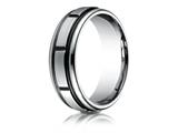 Benchmark Cobalt Chrome 7mm Comfort-fit Satin-finished Round Edge Blackened Sectional Design Ring