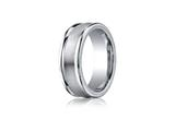Benchmark Cobalt Chrome 8mm Comfort-fit Satin-finished Round Edge Design Ring