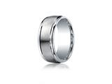 Benchmark® Argentium Silver 9mm Comfort-fit Satin-finished High Polished Round Edge Design Band