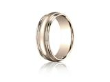 Benchmark® 7.5mm Comfort-fit High Polished With Milgrain Double Round Edge Carved Design Band style: RECF8750218KR