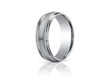 Benchmark® 7.5mm Comfort-fit Satin-finished With Milgrain Double Round Edge Carved Design Band