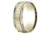 Benchmark® 18 Karat Gold 8mm Comfort-fit Hammered Center High Polish Round Edge Carved Design Band style: CF15830918K