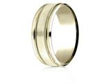 Benchmark® 14 Karat Gold 8mm Comfort-fit Drop Bevel Satin Finish Milgrain Design Band style: CF188013S