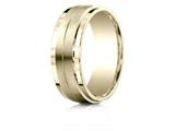 Benchmark® 14k Gold 8mm Comfort-fit Drop Bevel Satin Center Design Band style: CF68352