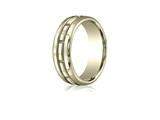 Benchmark 7.5mm Comfort-fit High Polished Rectangle Carved Design Band