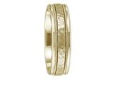 Benchmark® 10k Gold 6mm Comfort-fit Hammered Center High Polish Round Edge Carved Design Band style: CFWB15630910K