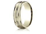 Benchmark® 18k Gold 7mm Comfort-fit Satin-finished High Polished Center Trim And Round Edge Carved Design Band style: RECF5718018K