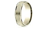 Benchmark® 14 Karat Gold 7mm Comfort-fit High Polish Round Edge Cross Hatch Center Design Band style: RECF67471