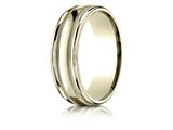 Benchmark® 14k Gold 7mm Comfort-fit High Polished With Milgrain Round Edge Carved Design Band style: RECF7701