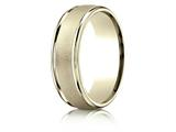 Benchmark® 14k Gold 7mm Comfort-fit Wired-finished High Polished Round Edge Carved Design Band style: RECF7702