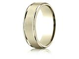 Benchmark® 18k Gold 7mm Comfort-fit Satin Finish High Polished Round Edge Carved Design Band style: RECF7702S18K