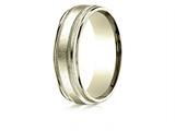 Benchmark® 14k Gold 7mm Comfort-fit Swirl Finish Center Milgrain Round Edge Carved Design Band style: RECF77041