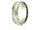 Benchmark® 18 Karat Gold 7mm Comfort-fit Florentine Center High Polish Round Edge Design Band style: RECF7747018K