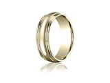Benchmark® 7.5mm Comfort-fit High Polished With Milgrain Double Round Edge Carved Design Band
