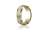 Benchmark® 7.5mm Comfort-fit Satin-finished With Center Cut Double Round Edge Carved Design Band style: RECF8750518K