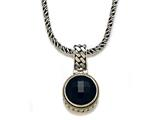 Silver and 18kt Yellow Gold Genuine Onyx Necklace by Effy Collection